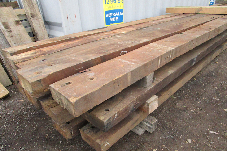 Recycled blackbutt beams for pergola posts structural use