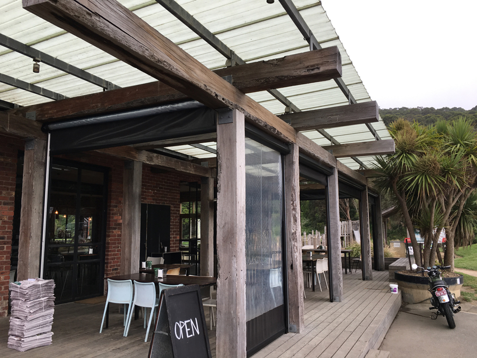 250x 300mm Turpentine beams milled supplied by Timbersearch. To create a rustic, authentic wharf look the client wished to reuse original bridge materials. We cut the beams from wharf piles salvaged from Princess Pier in Melbourne Port. The client has chosen to allow this timber to grey-off naturally in the weather